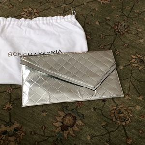 BCBG metallic silver clutch